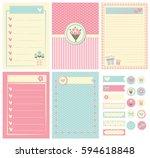 template for notebook paper ... | Shutterstock .eps vector #594618848