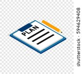 document plan isometric icon 3d ... | Shutterstock .eps vector #594629408