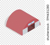 Hangar Isometric Icon 3d On A...