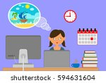 dream about a vacation.... | Shutterstock . vector #594631604