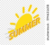 sun and summer isometric icon...