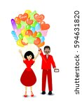 people gift a bunch of balloons.... | Shutterstock .eps vector #594631820