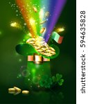 st patricks day green hat with... | Shutterstock .eps vector #594635828