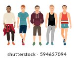 healthy men in sports clothes... | Shutterstock .eps vector #594637094