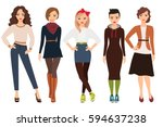casual fashion for cute woman... | Shutterstock .eps vector #594637238