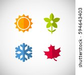 vector season icons. four... | Shutterstock .eps vector #594643403