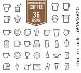 coffee  accessories line icons... | Shutterstock .eps vector #594648620