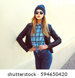 fashion portrait pretty blonde... | Shutterstock . vector #594650420