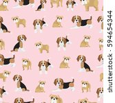 bulldog and beagle on pink...   Shutterstock .eps vector #594654344