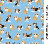 bulldog and beagle on blue... | Shutterstock .eps vector #594654353