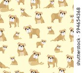 bulldog on yellow background... | Shutterstock .eps vector #594654368