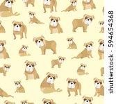 bulldog on yellow background...   Shutterstock .eps vector #594654368