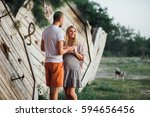 couple of pregnant woman and... | Shutterstock . vector #594656456