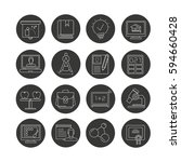 education icon set in circle... | Shutterstock .eps vector #594660428