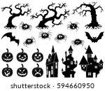 set of different halloween... | Shutterstock . vector #594660950