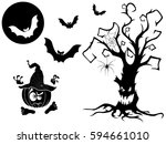 set of different silhouettes... | Shutterstock . vector #594661010