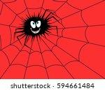 big funny dark spider on the... | Shutterstock . vector #594661484