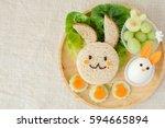 bunny rabbit easter lunch plate ... | Shutterstock . vector #594665894