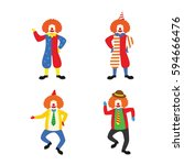 clown character design vector.  | Shutterstock .eps vector #594666476