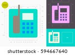 office phone color icon  golden ... | Shutterstock .eps vector #594667640