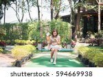 young beautiful woman sitting... | Shutterstock . vector #594669938