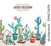 cacti flower pattern. seamless... | Shutterstock .eps vector #594671654