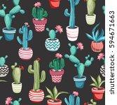 cacti flower background.... | Shutterstock .eps vector #594671663