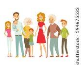 big happy family. vector... | Shutterstock .eps vector #594675533