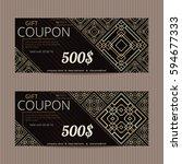 two gift vouchers in luxury... | Shutterstock .eps vector #594677333