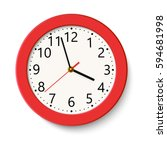 classic red round wall clock... | Shutterstock .eps vector #594681998