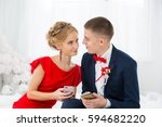 a girl in a red dress with a... | Shutterstock . vector #594682220