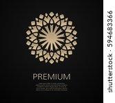 golden flower shape. gradient... | Shutterstock .eps vector #594683366
