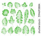 set of vector leaf stamp.... | Shutterstock .eps vector #594693884