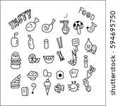 line drawings food vector | Shutterstock .eps vector #594695750