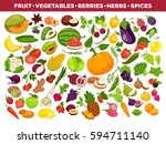 vegetables or veggies farmer... | Shutterstock .eps vector #594711140