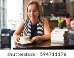 asian woman relaxing and... | Shutterstock . vector #594711176