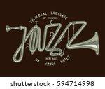jazz trumpet vintage print.... | Shutterstock .eps vector #594714998