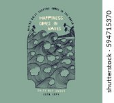happiness comes in waves... | Shutterstock .eps vector #594715370