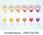 set of colorful map markers  ... | Shutterstock .eps vector #594716750