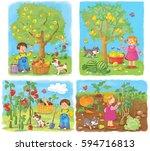 in the garden. farm. cute boy... | Shutterstock . vector #594716813
