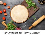 raw pizza dough with set... | Shutterstock . vector #594728804