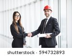 professional architect and... | Shutterstock . vector #594732893