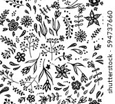 vector hand drawn floral...   Shutterstock .eps vector #594737660