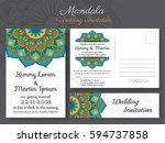 classic vintage wedding...   Shutterstock .eps vector #594737858