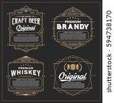 vintage frame design for labels ... | Shutterstock .eps vector #594738170