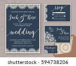 rustic wedding invitation... | Shutterstock .eps vector #594738206