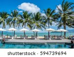tropical beach resort with... | Shutterstock . vector #594739694