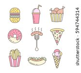 linear flat fast food badges ... | Shutterstock .eps vector #594744314