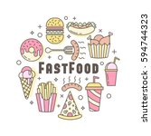linear flat fast food badge ... | Shutterstock .eps vector #594744323