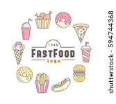 linear flat fast food badge ... | Shutterstock .eps vector #594744368